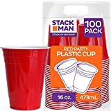 Stack Man Red [16 oz-100 Pack] Party, Cold Drink Plastic Disposable Cups