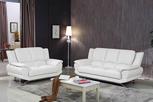 Matisse Milano Contemporary White Leather Sofa Set 2