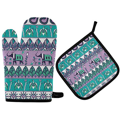 HAIIO Oven Mitt and Potholder Sets Tribal Leaves Elephant Birds Animal Quilted Cotton Lining Heat Resistant Pad for Kitchen Baking Cooking