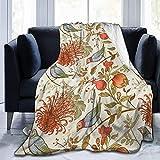 SPXUBZ Manta de franela para sofá, cama, estilo vintage, japonés, crisantemo, flores, ultra suave, acogedora manta para adultos o niños, 150 x 152 cm