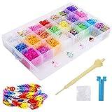 Caja Pulseras Gomas 4400 Gomas para hacer pulseras Bandas de Silicona Para Hacer Pulseras De Colores Loom Kit para Pulseras