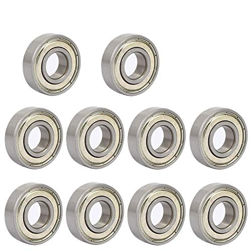 6001ZZ 12 x 28 x 8 mm Deep Groove Ball Bearing, 10 Pcs, Double Metal Shielded Miniature Ball Bearings, Fit for Skateboard Bearings, 3D Printer RepRap Wheel, Roller Skates, Inline Skates (Pack of 10)