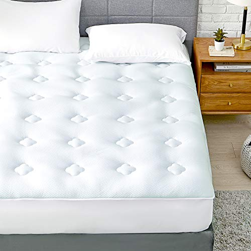 Hansleep Memory Foam Quilted Mattress Protector King Size Bed Fitted, Hypoallergenic Bamboo Mattress Topper Cover with Extra Deep Pocket Up to 51cm - 150x200cm