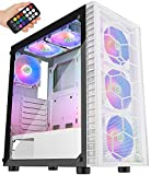 MUSETEX Mesh ATX Mid-Tower Computer Gaming Case with 6 PCS × 120mm LED ARGB Fans USB 3.0 Port Mesh Front Panel & Tempered Glass PC Chassis with Remote Control (White, G05MN6-BW)