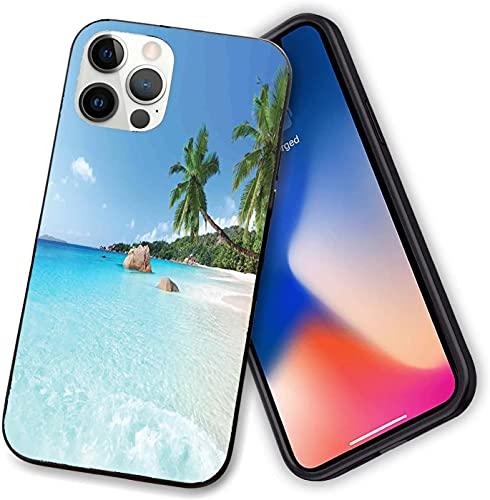 Compatibile con iPhone 12 serie, ANSE Lazio Beach at Praslin Island Surfing Beach Scenic View Travel, custodia flessibile per iPhone da 12 a 6,1 pollici.