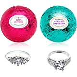 Mermaid Love Potion Bath Bombs Gift Set of 2 with Size 7 Ring Surprise Inside Each Made in USA
