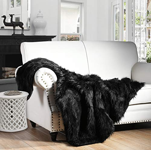 HORIMOTE HOME Luxury Plush Faux Fur Throw Blanket, Long Pile Black Throw Blanket, Super Warm, Fuzzy, Elegant, Fluffy Decoration Blanket Scarf for Sofa, Armchair, Couch and Bed, 50''x60''