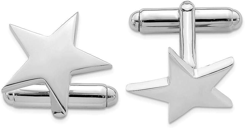 Solid 925 Sterling Trust Silver Cufflinks Men's 19mm Star Genuine Free Shipping
