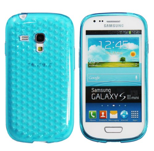 Luxburg® Diamond Design custodia Cover per Samsung Galaxy S3 Mini GT-I8190 colore blu acquamarina, custodia in silicone TPU