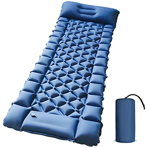 Camping Sleeping Pad - Foot Press Inflatable Lightweight Camping Pad with Air Pillow for Backpacking, Hiking & Traveling - Durable Waterproof Camping Mattress, Compact Sleeping Mat