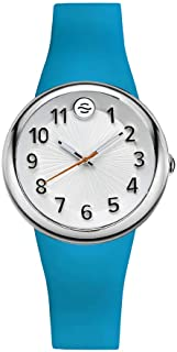 Philip Stein ' Japanese Quartz Stainless Steel and Silicone Watch, Color:Blue (Model: F36S-SW-TQ)