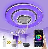 OTREN Lampada da Soffitto a LED con Altoparlante Bluetooth, RGB Plafoniera LED con Telecomando e Controllo APP, Dimmerabile Lampadario Moderno Compatibile Google Home