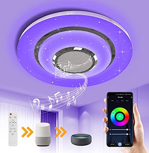 OTREN Lampada da Soffitto a LED con Altoparlante Bluetooth, RGB Plafoniera LED con Telecomando e Controllo APP, Dimmerabile Lampadario Moderno Compatibile con Google Home