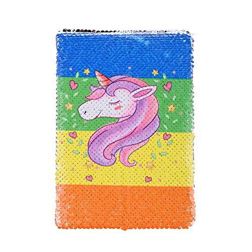 Dorisdoll - Cuaderno de lentejuelas tamaño A5 con diseño de unicornio y sirena, reversible, con purpurina, color Unicornio arcoíris. A5 Size