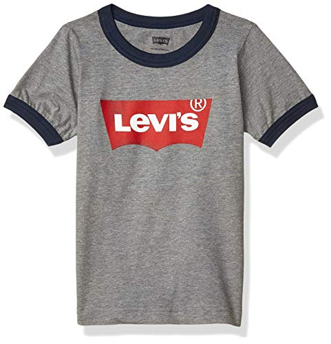 Levi's Boys' Toddler Classic Batwing T-Shirt, Grey Heather Ringer, 4T