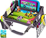 CERIZONA Portable Kids Travel Tray - Multi-Pocket Car Seat Tray for Toddlers -Waterproof Activity Tray Pad with Hands-Free Tablet Pocket (Grey)