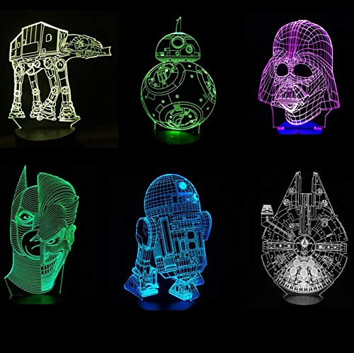 3D LED Night Light BB Walker RD Falcon Joker Face X Wing