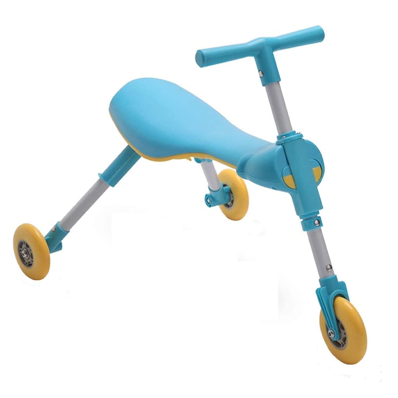 三輪車 トライク子供用三輪車折りたたみ式トロリー子供用玩具(ペダルなし)男の子と女の子のベビーカーのスポーツ用玩具は、贈り物として使用することができます赤青 (Color : Blue)