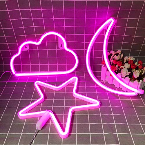 Pink Neon Signs Star Moon and Cloud Night Light Decorative LED Lamp Art Wall Decor for Girls Bedroom Birthday Party Powered by Battery/USB(Pink)