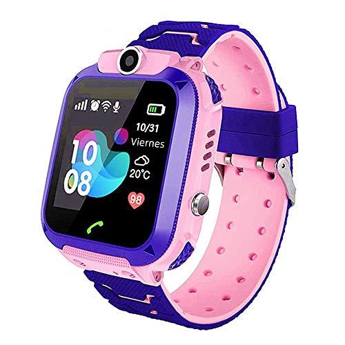 azorex Smartwatch Niños Reloj Inteligente IP67 con Posicionamiento LBS Llamada Bidireccional SOS Cámara Smartwatch soporta 2G Tarjeta Micro SIM (Rosa)
