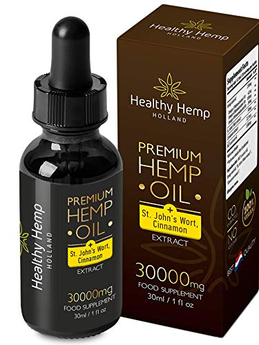 Healthy Hemp Holland ,30ml All-Natural Hemp Seed Oil Drops with St Johns Wort and Cinnamon Extract, Digestive and Anxiety
