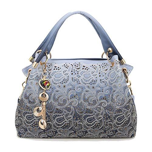 Tisdaini® Bolsos de Mano Mujer Bolsos Bandolera Moda Tallado Cuero Suave Bolsos Totes Shoppers y Bolsos de Hombro Azul