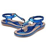 gracosy Sandales Femme Plates, Chaussures de Ville Été en Cuir PU Tongs Nu Pieds Claquettes Filles à Talons Plats Boucle Or Argentée Noires Bleues Beiges Soldes