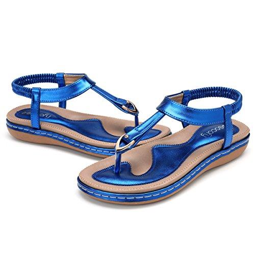 gracosy Damen Sandalen, Flip Flops Böhmische Sommer Sandals Flach Zehentrenner Stil T-Strap Offene Schuhe Strand Schuhe