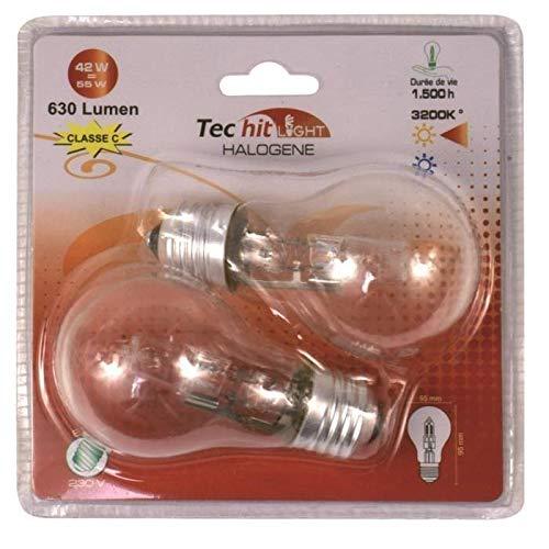TEC HIT 255742 Halogenlampe Standard klar 42 W / E27, 2 Stück, weiß