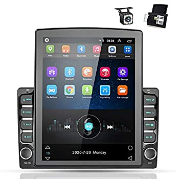 Android 9.0 Double Din GPS Navigation Car Stereo 9.7   Vertical Touch Screen 2.5D Tempered Glass Mirror Bluetooth Car Radio with Backup Camera