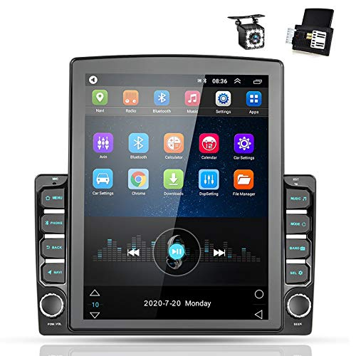 Android 9.0 2 Din GPS Car Stereo, 9.7'' Vertical Touch Screen HD 1080P 2.5D Tempered Glass Mirror Car Radio with 12 LED Backup Camera