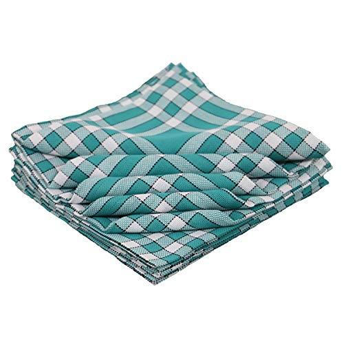 LiNANDELLE – Lote de 10 servilletas de mesa de algodón a cuadros Vi