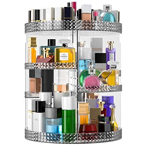 Famitree Rotating Makeup Organizer, Acrylic Perfume Makeup Storage, 7 Adjustable Layers Large Capacity Cosmetic Carousel, Fits Different Cosmetics and Toiletries,Plus Size (15in-grey, grey)