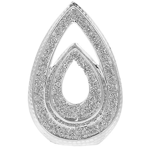LP Stylish Silver Double Teardrop With Crushed Diamonte Bling Decorative Sculpture Ornament
