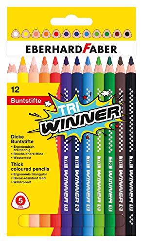 Eberhard Faber 518412 - TRI Winner Buntstifte in 12 Farben, Minenstärke 5 mm, bruchsicher und ergonomisch dreiflächig, im Kartonetui, zum Malen, Illustrieren und Zeichnen