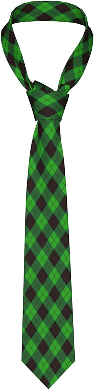 Men'S Necktie Green Black And Red Argyle Creative Casual Tie Gift Neck Ties