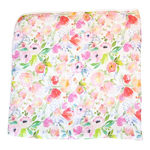 ADDISON BELLE 100% Organic Muslin Everything Blanket - Oversized 47 inches x 47 inches - Premium 4 Layer Muslin Blanket/Dream Blanket - Watercolor Floral Print