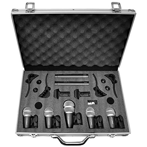 Pyle Pro 7-Piece Wired Dynamic Drum Mic Kit - Kick Bass, Tom / Snare & Cymbals Microphone Set - For Drums, Vocal, & Other Instrument - Complete with Thread Clip, Inserts, Mics Holder & Case - PDKM7
