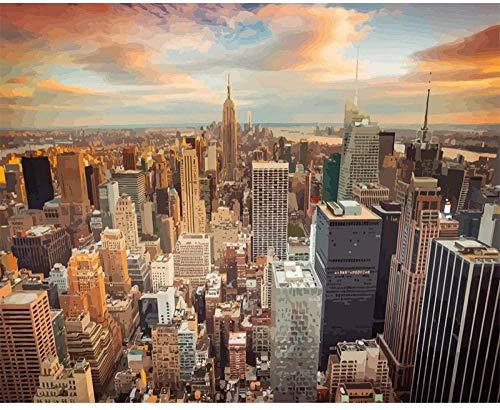 QIAOYUE DIY Ölgemälde New York Cityscape in der Abenddämmerung Malen nach Zahlen für Erwachsene und Kinder malen Wohnzimmer Schlafzimmer Küche Dekoration Leinwand 40X50CM Rahmenlos