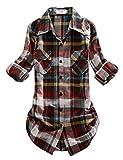Match Women's Long Sleeve Plaid Flannel Shirt #2021(Large, Checks#4)