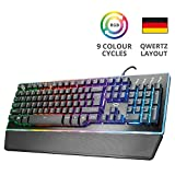 Trust Gaming GXT 860 Thura Halbmechanische LED Gaming Tastatur (Deutsches QWERTZ Layout, RGB Beleuchtete, Anti-Ghosting) schwarz
