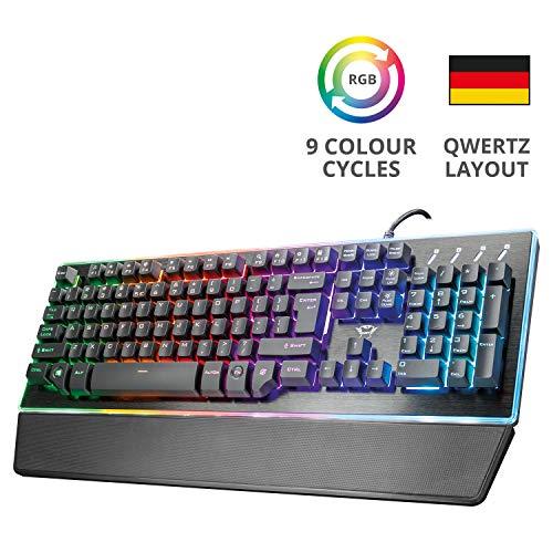 Trust Gaming Halbmechanische LED Gaming Tastatur (Deutsches QWERTZ Layout, RGB Beleuchtete, Anti-Ghosting) schwarz