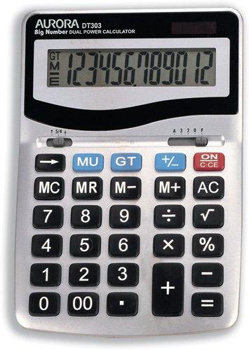 Aurora DT303 Desktop Calculator with Large Display and Keys