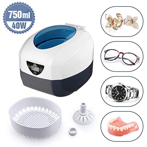 Uten Ultrasonic Cleaner - 0.75L Low Noise Wash Machine for Cleaning Eyeglasses, Jewelry, Watches, Razors, Dentures Combs