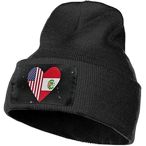 leyhjai Half Peru Flag Half USA Flag Love Heart Gorra de esquí Hombres Mujeres Sombreros de punto Gorro elástico suave