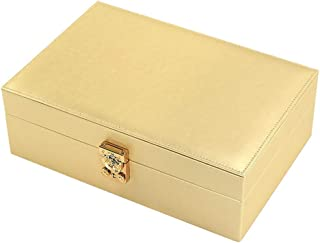 Jewelry Boxes & Organizers Jewellery Box, Leather Rectangular Jewellery Boxes for Women and Girls, The Best Gift to Grandma, Mom, Girlfriend Or Daughter (Color : Gold)