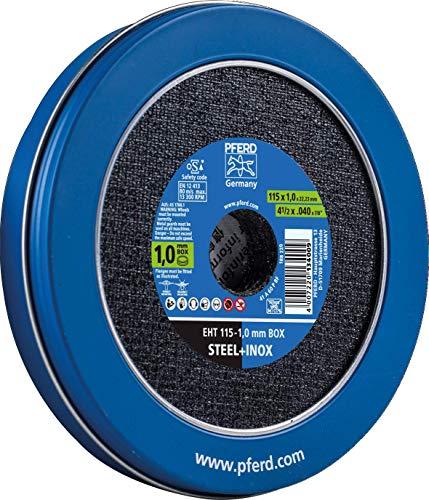 PFERD 1,0 mm Trennscheiben Box – 10 Trennscheiben 115 x 1,0 x 22,23 mm in praktischer Blechdose, 69121067 – für hohe Trennleistung und solide Standzeit auf Stahl und Edelstahl (INOX)