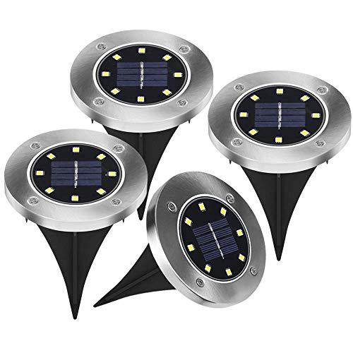 4 Stück LED Solarleuchten 8 LED Solar Leucht außen Solarleuchte Wasserdichte Solar Bodenstrahler Edelstahl Garten Landschaftslichter für Rasen Weg Hof Fahrstraßen, WarmWeiß