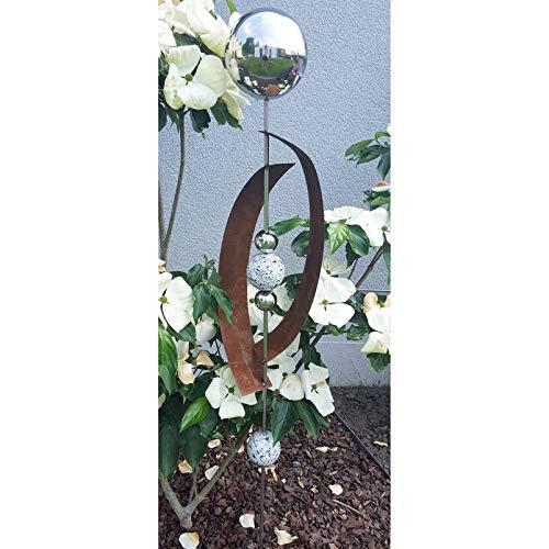 Beetstecker Deimos aus Edel-/Cortenstahl mit 4 Kugeln/Stab, Granit in Weiß, Maße 145 x 21 x 19,5 cm