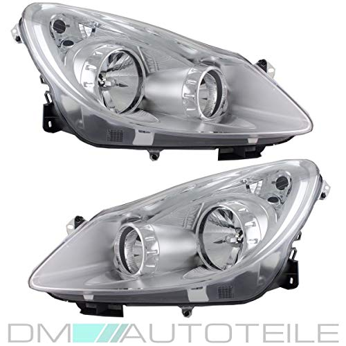 DM Autoteile Corsa D Halogen Scheinwerfer SET (Rechts + Links) H7/H1 Klarglas Valeo Sy.